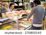 shopkeeper serving a customer... | Shutterstock . vector #270805145