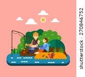fishing landscape. men sitting... | Shutterstock .eps vector #270846752