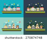 City life, urban landscapes set at day and at night. With buildings icons set:  police, fire station, school, church, bank, court house, hospital, shop, store in modern flat design style