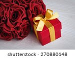 red roses and red gift box with ... | Shutterstock . vector #270880148