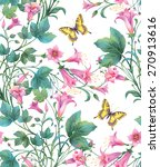pink flowers and  yellow ... | Shutterstock . vector #270913616