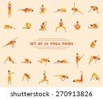 set of twenty six yoga poses.... | Shutterstock .eps vector #270913826