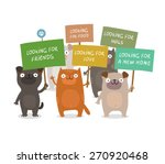 Stock vector cute dogs and cats manifesting and holding placards looking for a new home friends food love 270920468
