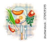 breakfast food illustration.... | Shutterstock .eps vector #270929195