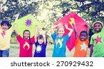 children playing kite happiness ... | Shutterstock . vector #270929432