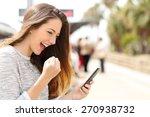 euphoric woman watching her... | Shutterstock . vector #270938732