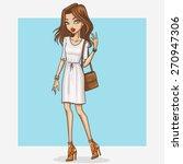 hand drawn fashion girl... | Shutterstock .eps vector #270947306