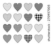 Set Of Black And White Heart...