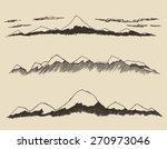 mountains set  engraving vector ... | Shutterstock .eps vector #270973046
