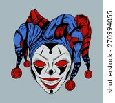Cartoon Evil Clown With Red...