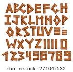 wooden alphabet and digits ... | Shutterstock .eps vector #271045532