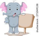 cute elephant cartoon holding a ... | Shutterstock .eps vector #271049138