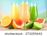 fresh summer cocktails with... | Shutterstock . vector #271055642