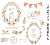 rose wreath elements | Shutterstock .eps vector #271055768