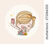 taking photo  selfie girl  ... | Shutterstock .eps vector #271066202