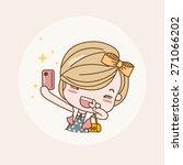 taking photo  selfie girl  ... | Shutterstock .eps vector #271066202