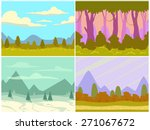 set of seamless cartoon nature...
