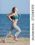 jogging. slim girl in flip flop ... | Shutterstock . vector #271069355