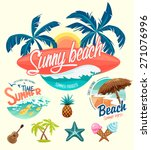 set of summer surfing badges... | Shutterstock .eps vector #271076996