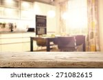 desk of wood and kitchen space  | Shutterstock . vector #271082615