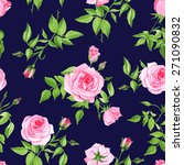 vintage navy with pink rose... | Shutterstock .eps vector #271090832