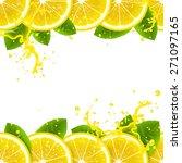 banner with fresh lemons and... | Shutterstock .eps vector #271097165