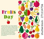 bright fruit set in flat style. ... | Shutterstock .eps vector #271114736