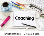 Coaching Word With Cup Of...