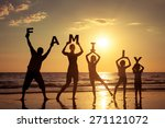 happy family standing on the... | Shutterstock . vector #271121072
