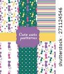 stylish cats pattern. vector... | Shutterstock .eps vector #271124546