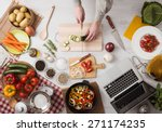 man cooking in the kitchen and... | Shutterstock . vector #271174235