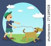 a cute little boy doing dog... | Shutterstock .eps vector #271189028