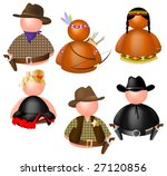This vector picture represents a various icons messenger, collection 4: western