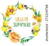 watercolor yellow and green... | Shutterstock . vector #271214768