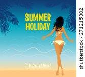 hot girl on a beach. vector... | Shutterstock .eps vector #271215302