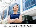 businesswoman standing next to... | Shutterstock . vector #271216496