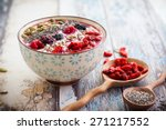 breakfast berry smoothie bowl... | Shutterstock . vector #271217552