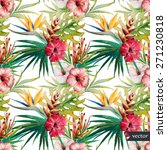 watercolor  tropical  pattern   ... | Shutterstock .eps vector #271230818