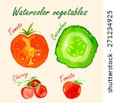 vector. watercolor tomato ... | Shutterstock .eps vector #271234925