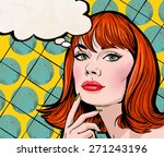 Pop Art Illustration Of Girl...