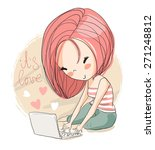 girl with laptop | Shutterstock .eps vector #271248812