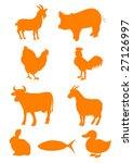 set of farm animal shapes   Shutterstock .eps vector #27126997