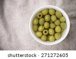 Top View Of The Green Olives...