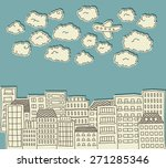 paper cutout doodle of a city...   Shutterstock .eps vector #271285346