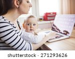 young mother in home office... | Shutterstock . vector #271293626