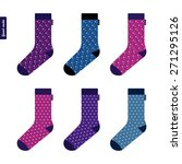 set of socks with space pattern ... | Shutterstock .eps vector #271295126
