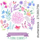 watercolor floral set. vector... | Shutterstock .eps vector #271301756