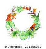 tropical leaves  exotic birds ... | Shutterstock . vector #271306082