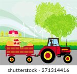 man driving a tractor with a... | Shutterstock . vector #271314416