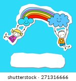 happy kids with rainbow | Shutterstock .eps vector #271316666